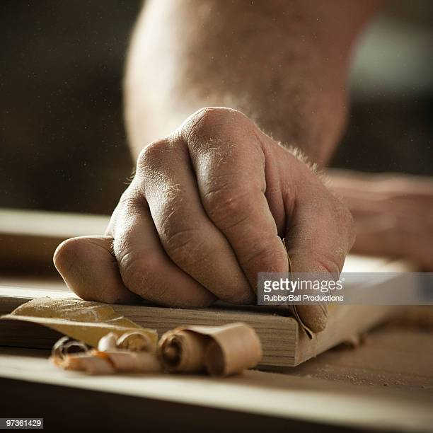 USA, Utah, Orem, close-up of carpenter at work