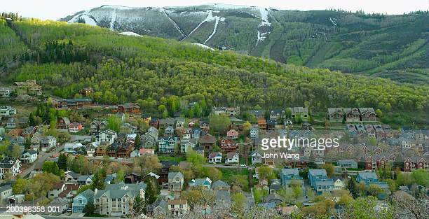 usa, utah, park city, cityscape at dusk in spring, elevated view - park city stock photos and pictures