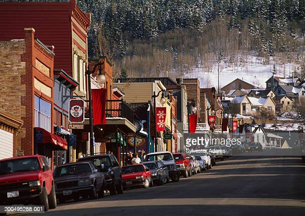 USA, Utah, Park City, street scene, winter