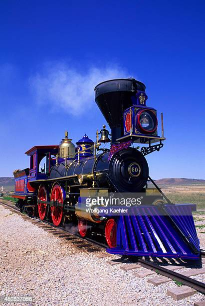 USA Utah Promontory Point Golden Spike National Historic Sitecentral Pacific Steam Engine