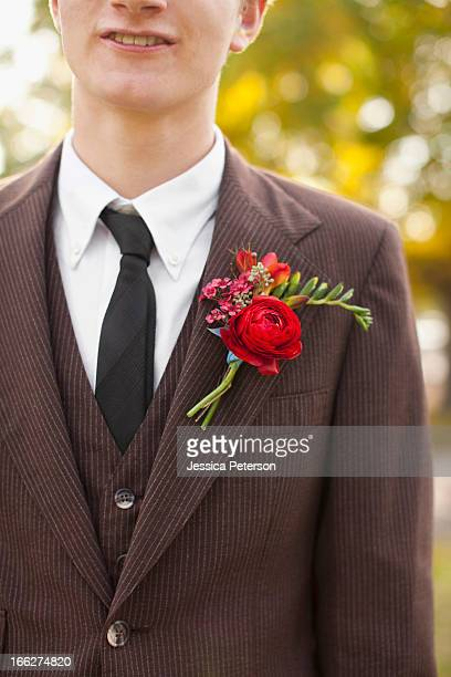 usa, utah, provo, mid section of groom wearing full suit decorated with boutonniere - utah wedding stock pictures, royalty-free photos & images