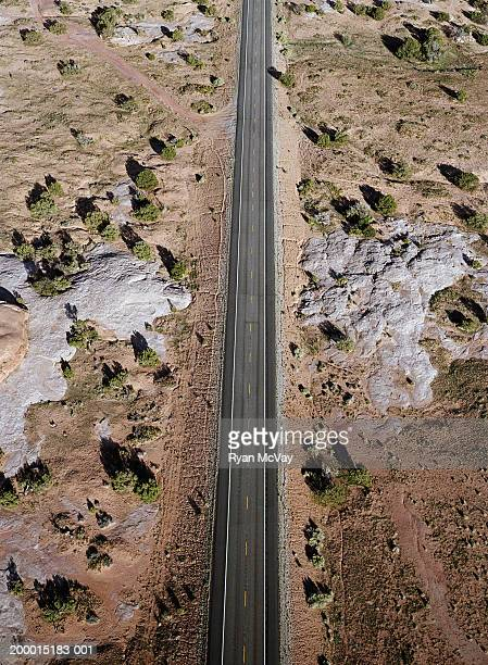 USA, Utah, road surrounded by desert landscape, aerial view