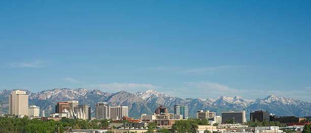 USA, Utah, Salt Lake City, Cityscape And Mountains, Afternoon Wall Art