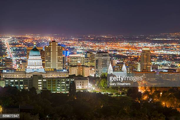 usa, utah, salt lake city, cityscape at night - salt lake city utah stock photos and pictures