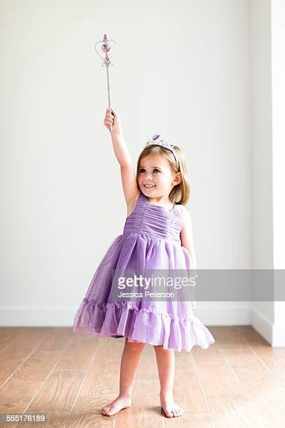 USA, Utah, Salt Lake City, Girl (4-5) in princess costume