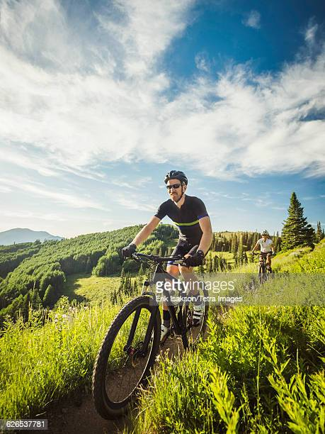 USA, Utah, Salt Lake City, Mature couple during bike trip