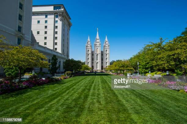 usa, utah, salt lake city, mormon salt lake city temple - holy city park stock pictures, royalty-free photos & images