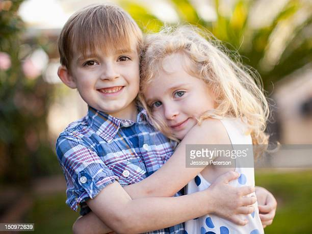 USA, Utah, Salt Lake City, Outdoor portrait of girl (4-5) and boy (6-7)