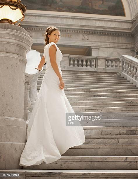 USA, Utah, Salt Lake City, Portrait of bride on steps
