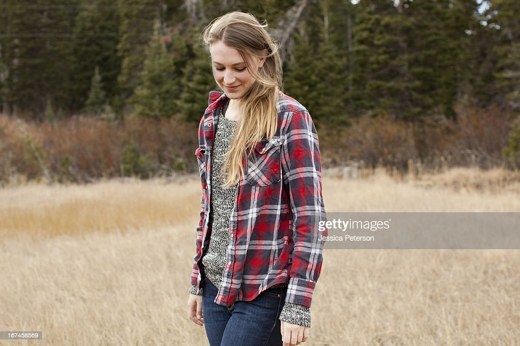 USA, Utah, Salt Lake City, portrait of young woman in non-urban scene : Stock Photo