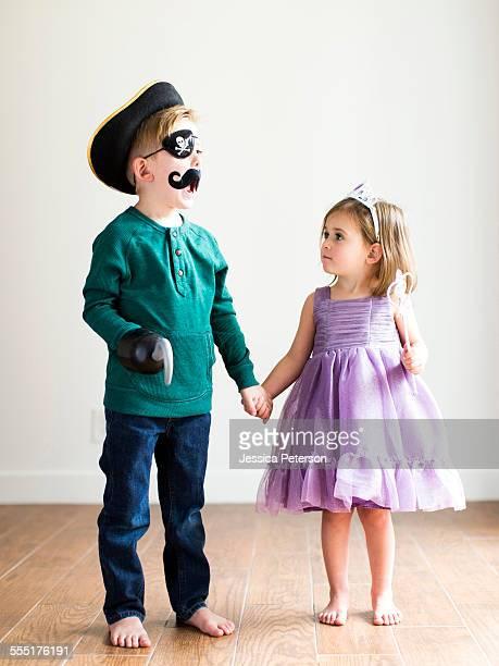 USA, Utah, Salt Lake City, Siblings (2-3, 4-5) dressed up as pirate and princess