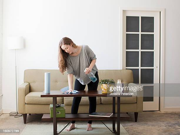 usa, utah, salt lake city, young woman cleaning - rubbing stock pictures, royalty-free photos & images