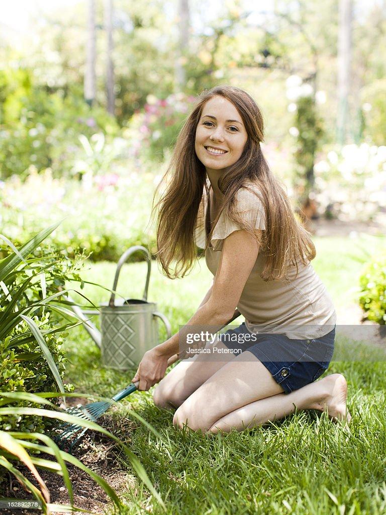 Usa Utah Salt Lake Portrait Of Young Woman In Garden Stock -6133