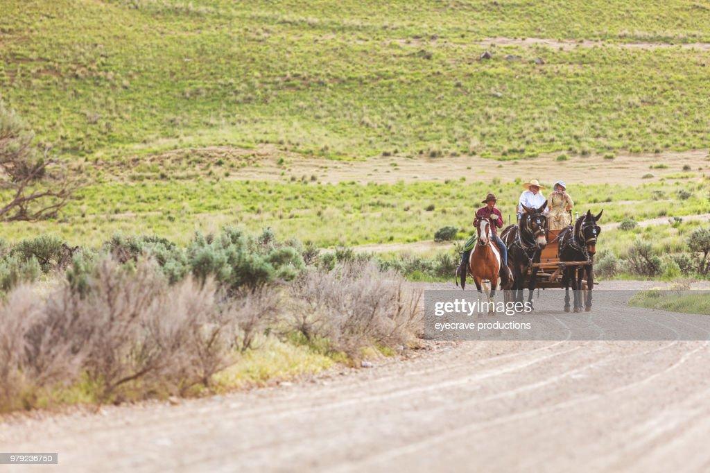 Utah Settler Wagon Western Outdoors Roundup Riding Horses Herding Livestock : Stock Photo