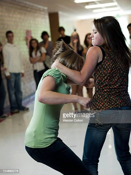USA, Utah, Spanish Fork, Two girls (14-17) fighting in school corridor