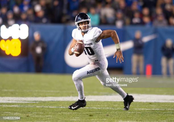 Utah State Aggies quarterback Jordan Love during a college football game between the Utah State Aggies and the BYU Cougars on October 5 at Lavell...