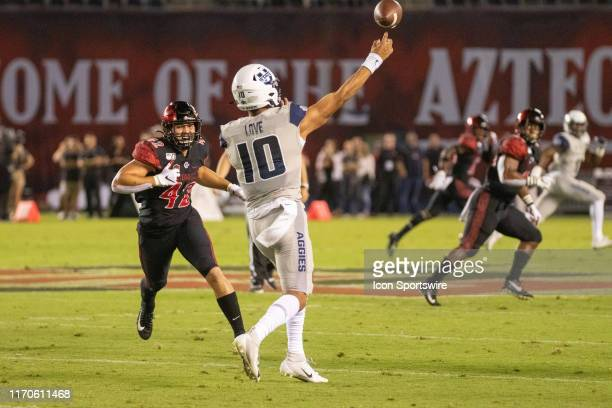 Utah State Aggies quarterback Jordan Love during a college football game between the Utah State Aggies and the San Diego State University Aztecs on...