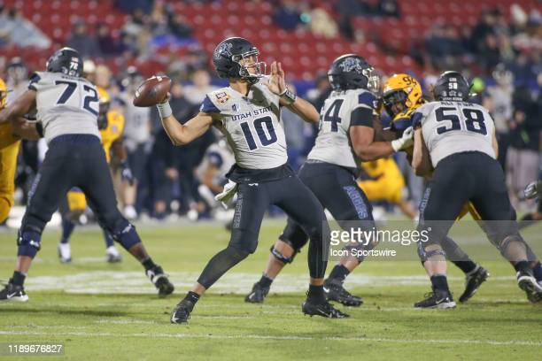 Utah State Aggies quarterback Jordan Love passes during the Tropical Smoothie Cafe Frisco Bowl on December 20 2019 at Toyota Stadium in Frisco TX
