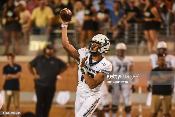 Utah State Aggies quarterback Jordan Love throws a pass during a game between the Utah State Aggies and the Wake Forest Demon Deacons on August 30...