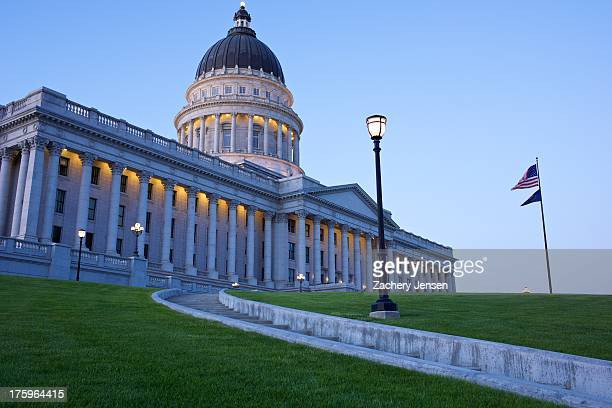 Utah State Capitol Building as viewed from the South lawn at twilight.