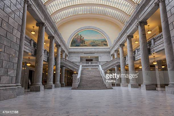 utah state capitol building, interior architectural detail, salt lake city - geometrical architecture stock photos and pictures