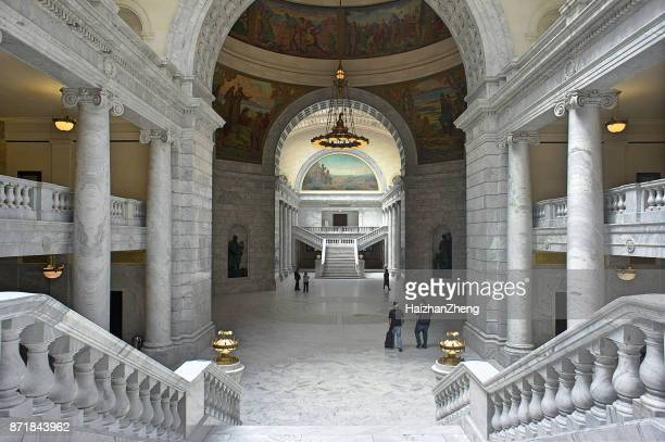 utah state capitol building - geometrical architecture stock photos and pictures