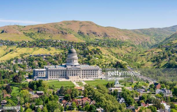 utah state capitol in salt lake city - utah stock pictures, royalty-free photos & images