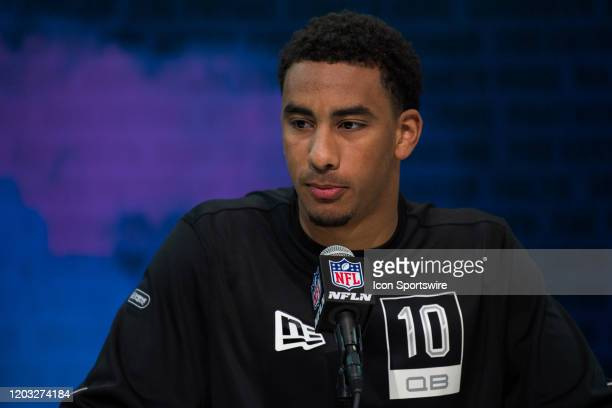 Utah State quarterback Jordan Love answers questions from the media during the NFL Scouting Combine on February 25 2020 at the Indiana Convention...