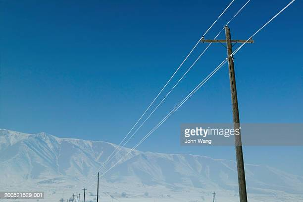 'USA, Utah, telephone poles and frost-covered telephone lines'