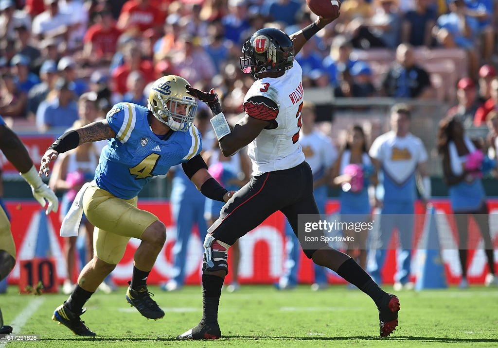 Utah (3) Troy Williams (QB) throws under pressure by UCLA (4) Cameron Judge (LB) during an NCAA football game between the Utah Utes and the UCLA Bruins on October 22, 2016, at the Rose Bowl in Pasadena, CA.