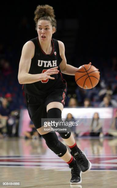 Utah Utes center Megan Huff dribbles the ball during a college women's basketball game between Utah Utes and Arizona Wildcats on January 21 at McKale...