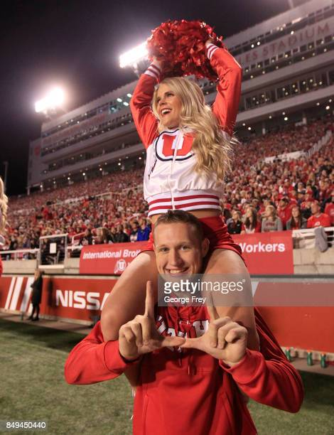 Utah Utes cheerleaders perform during the first of an college football game against the San Jose State Spartans on September 16 2017 at Rice Eccles...