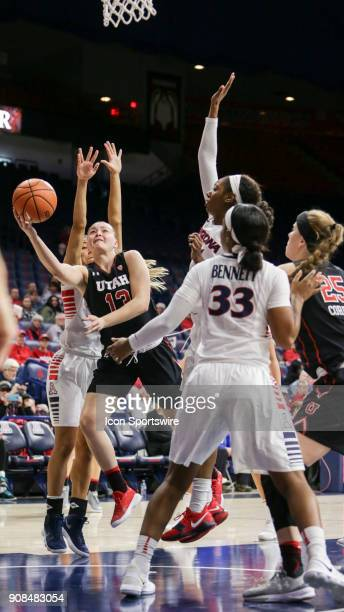 Utah Utes forward Megan Jacobs shoots the ball during a college women's basketball game between Utah Utes and Arizona Wildcats on January 21 at...