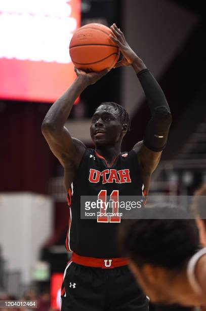 Utah Utes guard Both Gach during the NCAA men's basketball game between the Utah Utes and the Stanford Cardinal at Maples Pavilion on February 26,...