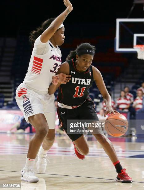 Utah Utes guard Erika Bean tries to dribble the ball past Arizona Wildcats guard JaLea Bennett during a college women's basketball game between Utah...