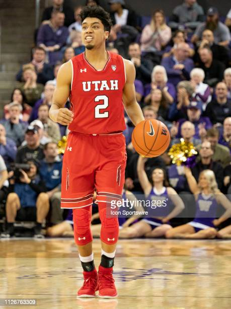 Utah Utes guard Sedrick Barefield dribbles the ball down court during a college basketball game between the Utah Utes against the Washington Huskies...