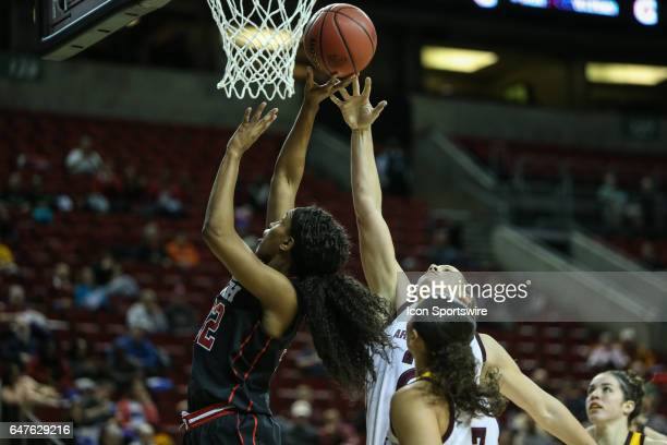 Utah Utes guard Tanaeya Boclair drives to the hoop during the woman's Pac 12 college tournament game between the Utah Utes and the ASU Sun devils on...