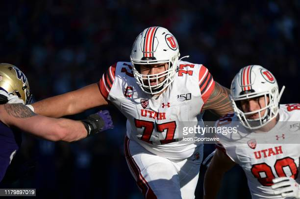 Utah Utes offensive lineman Darrin Paulo in action during a PAC12 Conference game between the Washington Huskies and the Utah Utes on November 2 at...
