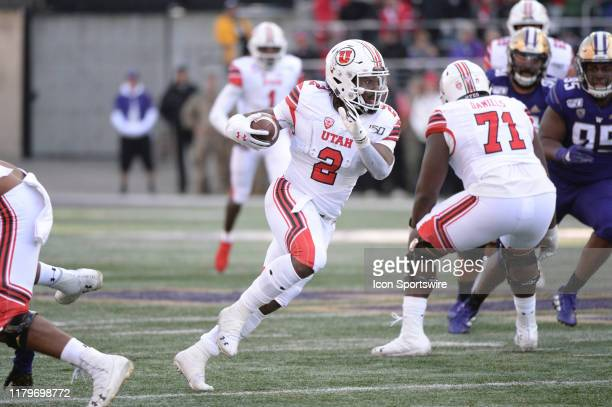Utah Utes running back Zack Moss breaks free for a big play during a PAC12 Conference game between the Washington Huskies and the Utah Utes on...