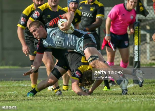 Utah Warriors lock Matt Jensen gets tackled during the Major League Rugby match between the Utah Warriors and Houston SaberCats on May 26 2018 at...