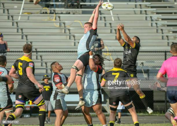 Utah Warriors lock Matt Jensen misses catching the line out ball during the Major League Rugby match between the Utah Warriors and Houston SaberCats...