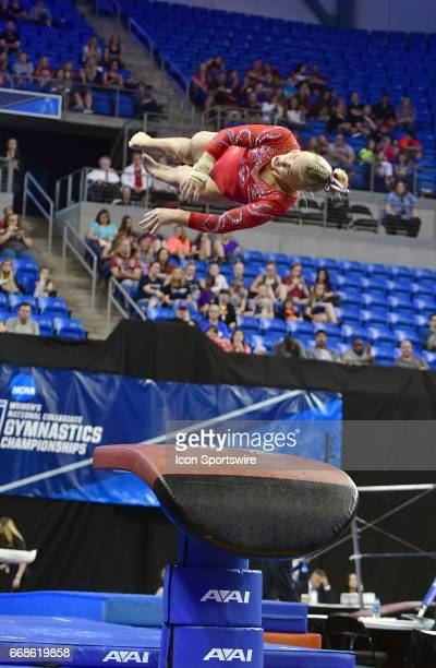 Utah's Erika Muhaw is shown on the vault during semifinal I of the NCAA Women's Gymnastics National Championship on April 14 at Chaifetz Arena in St...