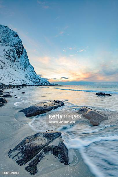 "utakleiv beach in the lofoten archipel in norway at the end of a winter day - ""sjoerd van der wal"" stock pictures, royalty-free photos & images"