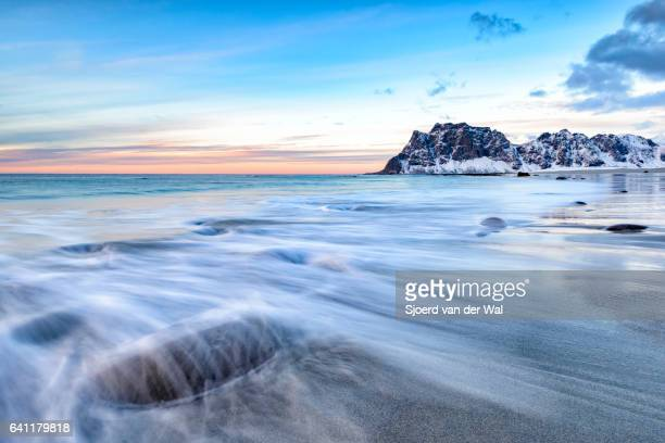 Utakleiv beach in the Lofoten archipel in Norway at the end of a beautiful winter day