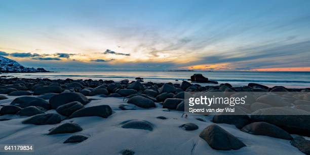 "utakleiv beach in the lofoten archipel in norway at the end of a beautiful winter day - ""sjoerd van der wal"" stock pictures, royalty-free photos & images"