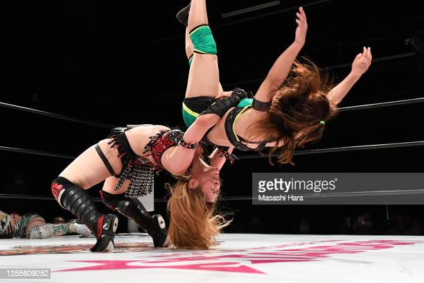 Utami Hayashishita and Saya Iida compete during the Women's Pro-Wrestling 'Stardom' at the Shinkiba 1st Ring on July 11, 2020 in Tokyo, Japan.