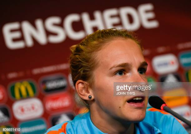 utch's forward player Vivianne Miedema gives a press conference at the FC Twente Stadion in Enschede on August 5 on the eve of the UEFA Women's Euro...