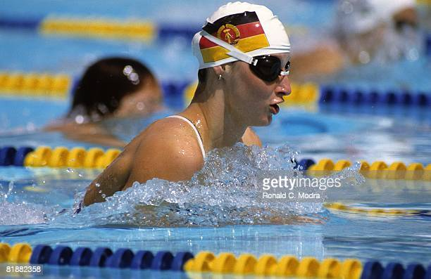 Ute Geweniger of the German Democratic Republic swims the 200 meter breaststroke and wins the gold medal during the 1982 World Swimming Championships...