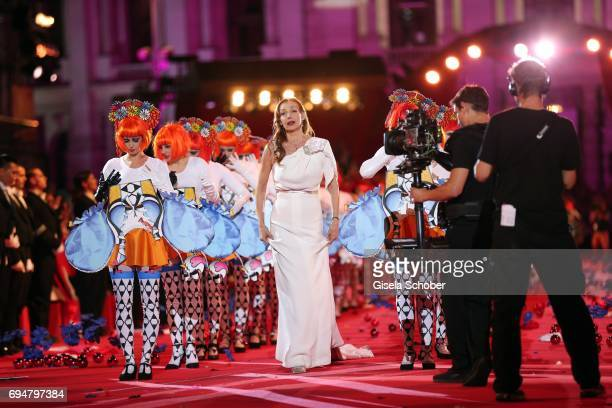 Ute Lemper performs during the Life Ball 2017 show at City Hall on June 10 2017 in Vienna Austria