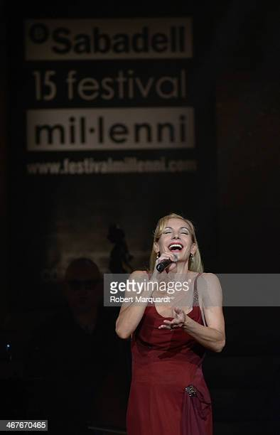 Ute Lemper performs on stage at the Palau de la Musica on February 7 2014 in Barcelona Spain